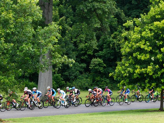 Riders compete in the Men's Criterium Cat 1 road race of the USA Cycling Amateur Road National Championships  at Shawnee Park in Louisville, Kentucky.       July 3, 2016