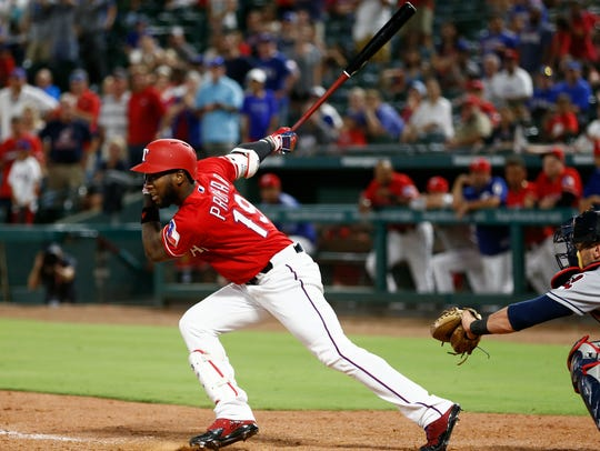 The Texas Rangers' Jurickson Profar follows through