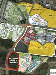 An aerial view that includes the 21 acres SouthStar just bought at the northeast corner of Liberty and Carothers in Cool Springs.