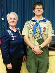 Susan Luczu and Eagle Scout Tyler Krisinski,