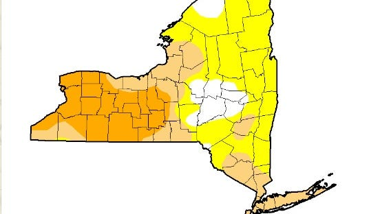 According to the U.S. Drought Monitor, Tompkins County and much of the Finger Lakes are experiencing severe drought condition as of July 19. Counties marked in orange are seeing severe drought, tan shows moderate drought and yellow shows abnormally dry conditions.