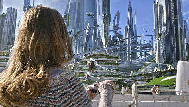 Casey (Britt Robertson) witnesses the wonders of a futuristic city in 'Tomorrowland.'