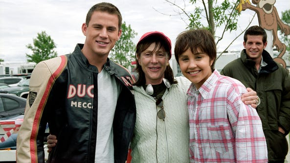 Channing Tatum and Amanda Bynes pose with producer
