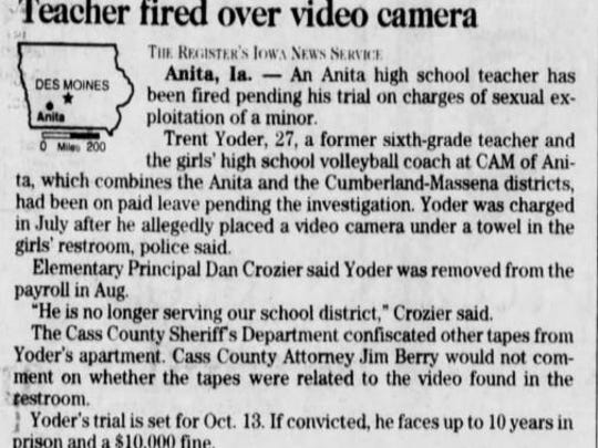 This clip from the Des Moines Register (Sept. 19, 1998) reports on Trent Yoder's firing from the CAM of Anita School District.
