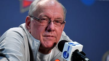Syracuse Orange head coach Jim Boeheim speaks to media during a press conference at NRG Stadium on March 31.