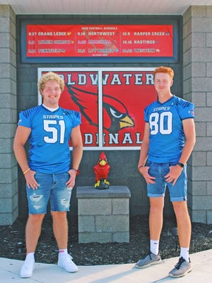 The Coldwater duo of Zach Tong (left) and Austin Santure (right) pose with their hard earned Addix All-Star game jerseys for the 2020 season. The game was virtually simulated this year however many athletes did receive their jerseys.