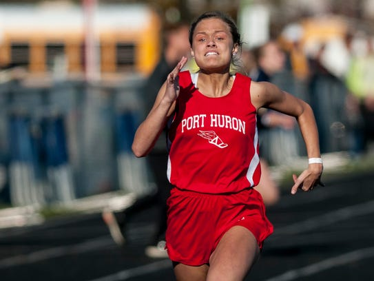 Port Huron's Rachel Taylor competes in the 100 meter