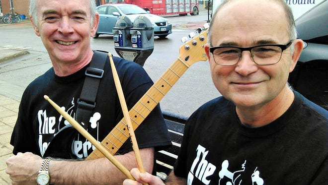 These founding fathers of Dogs On Skis are now back on the music scene as The Dogfathers.  They are keyboard/guitarist Jim Clancy of Coralville at left and drummer Mike Simpson of Iowa City.