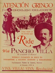 This recruiting poster calls for American volunteers to join the army of Pancho Villa during the Mexican Revolution.
