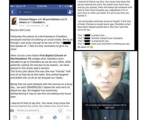 Editor's note: Explicit language has been redacted from this image. The screenshot shows the racist Snapchat post from a server at a Cheddar's restaurant in Murfreesboro that has gone viral on social media.