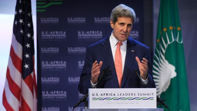 Secretary of State John Kerry gestures as he speaks Monday in Washington, D.C., during the Resilience and Food Security in a Changing Climate discussion at the U.S. Africa Summit.