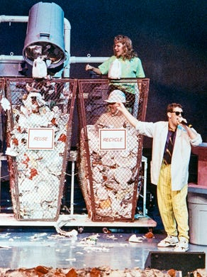 1990: A look at a Great Adventure stage show on recycling, sponsored by Dow Chemical Company.