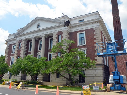 A piece of Battle Creek City Hall fell off in 2017 during restoration work, breaking a first-floor window and forcing officials to reroute the building entrance.