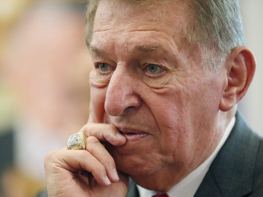 Jerry Colangelo speaks with guests at a reception at the Jerry Colangelo Museum at Grand Canyon University on Sept. 20, 2017.