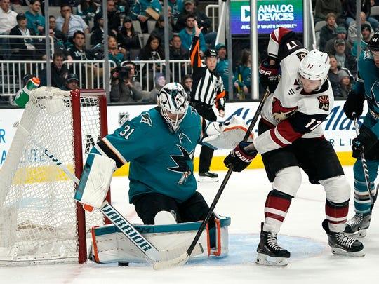 San Jose Sharks goaltender Martin Jones (31) blocks
