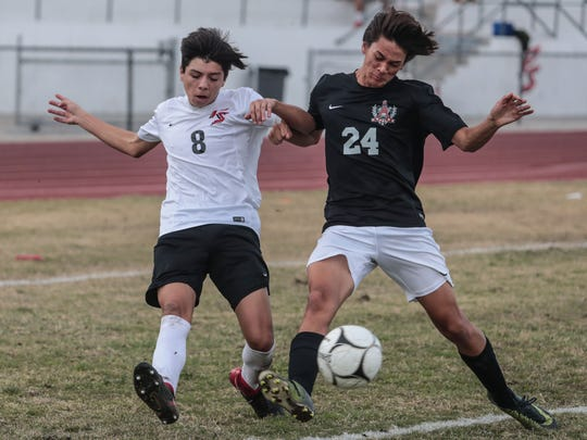 Palm Springs' Sebastian Duran makes an attempt to aid in a goal against Ayala on Wednesday, February 14, 2018.