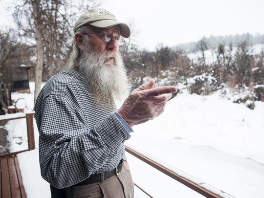 Dennis Borud shows his back porch view of Big Spring
