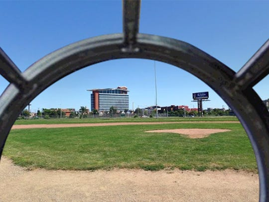 The former Tiger Stadium site, seen through the Millennium Falcon.