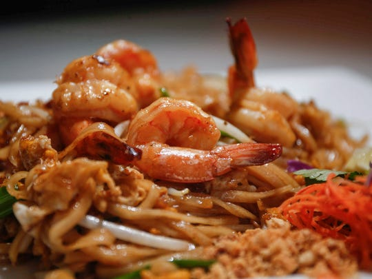 Pad Thai with shrimp at Blu Thai and Sushi on Wednesday, Jan. 31, 2018.