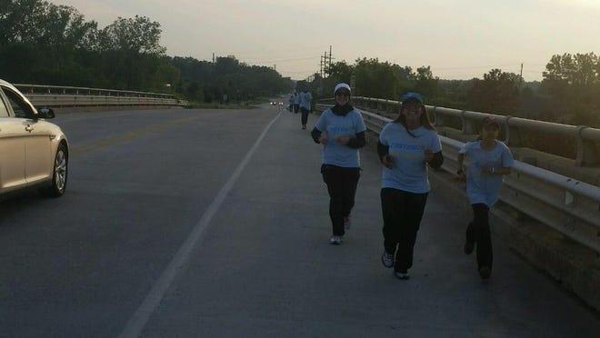 Celena Khatib, left, Sumreen Ahmad and Samaara Siddiqui ran in the 2015 Fasting 5K.