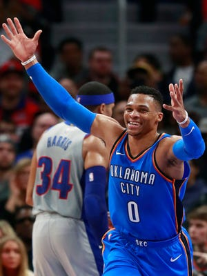Oklahoma City Thunder guard Russell Westbrook (0) reacts after a play during the first half of the team's NBA basketball game against the Detroit Pistons, Saturday, Jan. 27, 2018, in Detroit.