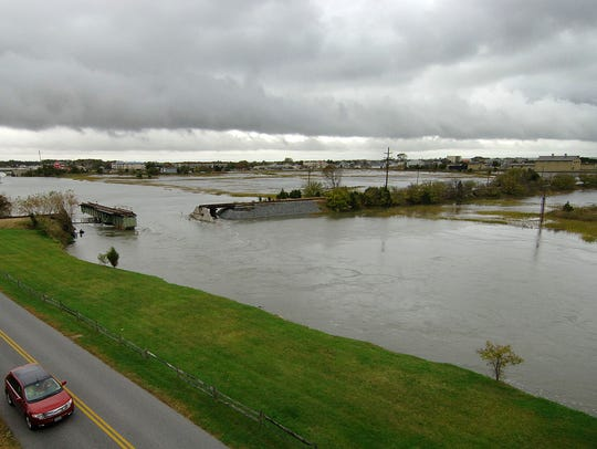 The salt marsh on Lewes Beach flooded along Gills Neck Road at the canal in Lewes in this 3-year-old file photo.