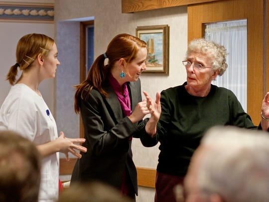 """A scene from the play """"Finding Penelope,"""" part of the Penelope Project at Luther Manor senior living community."""