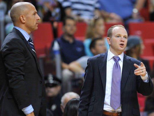 Brooklyn Nets head coach Jason Kidd (left) and assistant Lawrence Frank during the 2013-14 season.
