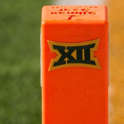A view of the Big 12 logo on a touchdown pylon. According