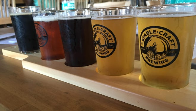 A flight of beers at Stable Craft Brewing located outside of Waynesboro.