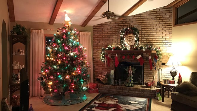 In the blending of their two families, Robbi and Jan Treise have an artificial and a live tree in their home at Christmastime.