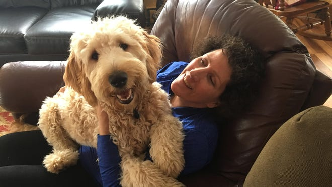"Denise Krohn with Tedi, sister to one of Krohn's two goldendoodles that were shot dead during a burglary at her home in upstate New York. Krohn is pushing for ""Kirby and Quigley's Law,"" legislation named after her slain pets that would make it a felony punishable by two years in prison to kill a pet while committing a crime."