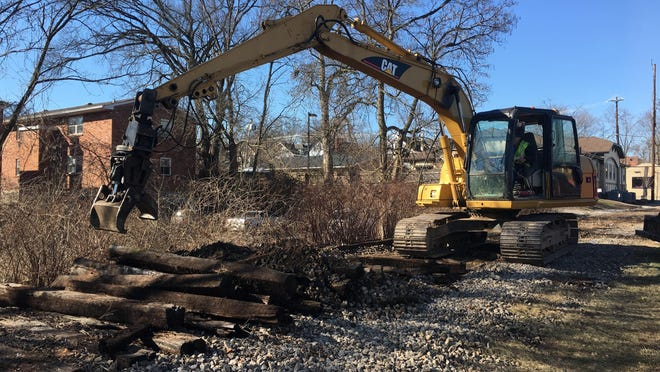 Removal of rails and ties in connection with the Wasson Way Trail project is under way.