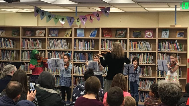First-year students play both violas and violins at the Champlain Elementary School concert.