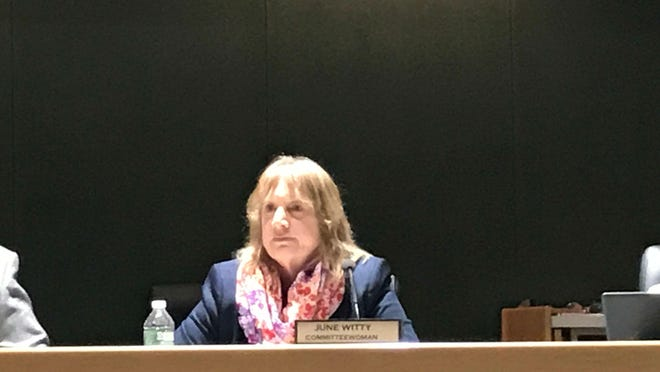 Montville Committeewoman June Witty listens to critics and supporters Tuesday. Montville Committeewoman June Witty listens to critics and supporters during a Montville Township Committee meeting on April 24, 2018.