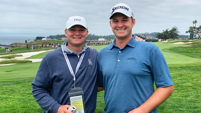 Sepp Straka, right, and his twin brother Sam on Thursday at Pebble Beach Golf Links. Photo: Beth Ann Nichols/Golfweek