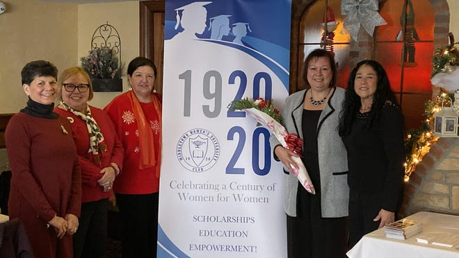 From left, Women's University Club President Ruth Zuclich, Historian Cynthia Molnar, Treasurer Patricia Leo, Executive Director of SUNY Orange Foundation Dawn Ansbro, and Vice President Denise Isseks. The Club held its Winter Meeting on Dec. 8.