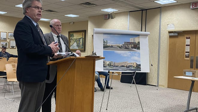 Engineer John O'Rourke, left, of Lanc & Tully Engineering and Surveying, and Phil Greeley, of Maser Consulting, share details in front of the Town of Wallkill Planning Board on Wednesday, regarding Orange Regional Medical Center's new plan to double the size of its emergency department.