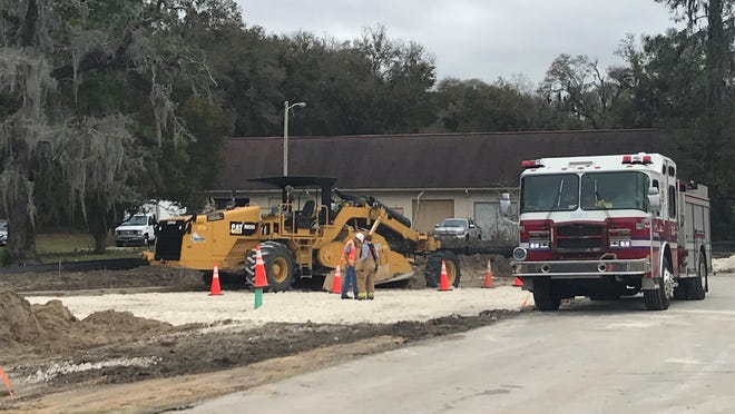 Ocala Fire Rescue provided this photo from the scene where a construction worker was injured earlier this year. The worker is now suing TECO Peoples Gas.