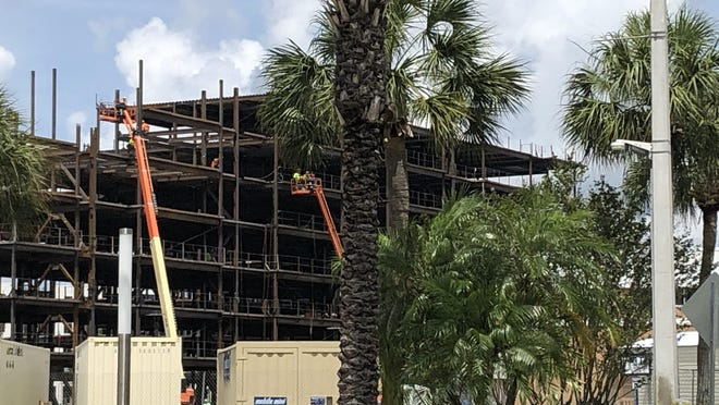 A new residence hall is under construction on the Daytona Beach campus of Embry-Riddle Aeronautical University. Workers were visible on the upper floors on Saturday, May 31, 2020.