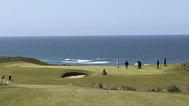 Bandon Dunes will host the U.S. Amateur in August. Seen here is the 12th hole with its ocean views. [Steve Mims/The Register-Guard] - registerguard.com