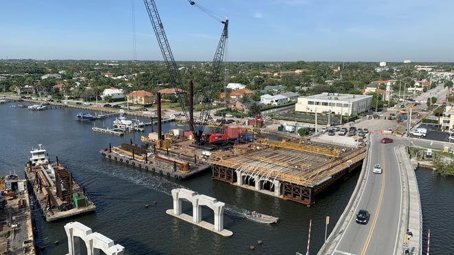 The deck spans are being constructed on West Palm beach side of the new Southern Boulevard Bridge, which is headed toward completion in the summer of 2021. [Photo submitted by Florida Department of Transportation].