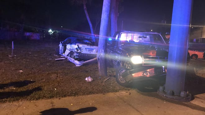 The scene of a four-vehicle crash Saturday night at the intersection of West Blue Heron Boulevard and Australian Avenue in Riviera Beach.  [Photo courtesy of Riviera Beach Police Department].