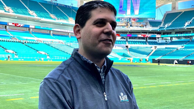Eric Finkelstein, senior director of event operations for the NFL, speaks to the media at Hard Rock Stadium on Tuesday.