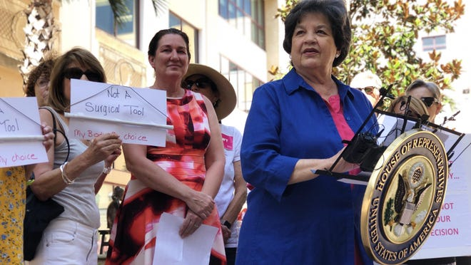 """U.S. Rep. Lois Frankel, right, speaks in front of a dozen pro-choice supporters about her recently re-introduced bill called the """"Women's Health Protection Act."""""""