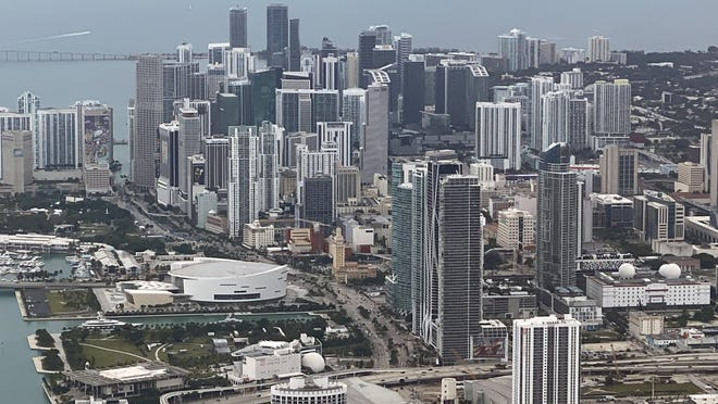 General overall aerial view of the the downtown Miami skyline.