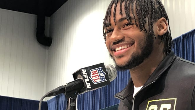 Georgia running back D'Andre Swift fields questions from reporters at the NFL Combine in Indianapolis on Wednesday.