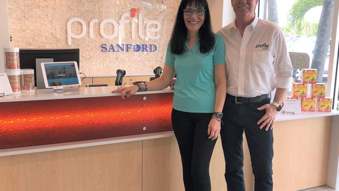 Stella Schwartz (left) and Chris Wright opened Profile by Sanford at Alton Town Center in Palm Beach Gardens in December. The personalized weight loss program, with 171 locations in 37 states, provides nutrition, activity and lifestyle coaching to help members lose weight and keep it off.