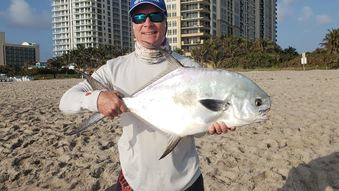 Fishing for pompano with friend Mike Henrikson at Ocean Reef Park on Singer Island, Aaron Barnes got quite a surprise when he hooked this permit. Barnes said it took about six minutes to land the impressive 16.3 pound fish. He was using a dead sand flea for bait.