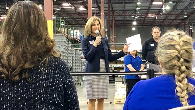 Palm Beach County Supervisor of Elections Wendy Sartory Link speaks at the county's tabulation center in Riviera Beach on Feb. 28.